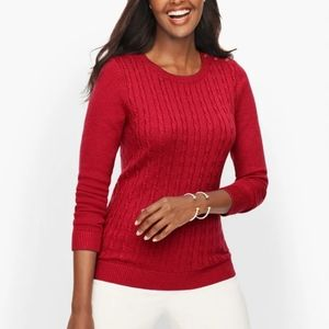 Talbots red cable knit sweater lambswool